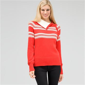 Long Sleeve Raglan Button Out Turtle Neck, Fire Red Multi, large