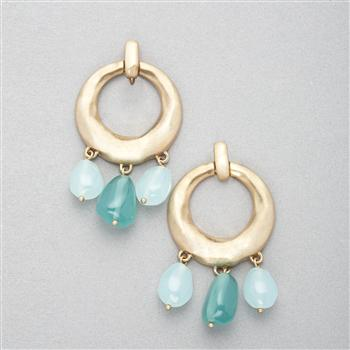 Turquoise and Gold Hoop Earring, Gold, large