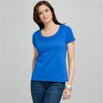 Scoop Neck Tee With Applique, Blue, large