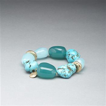 Turquoise and Gold Bracelet, Gold, large